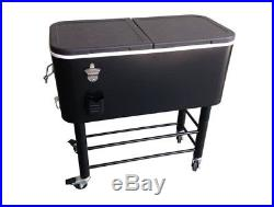 Beverage Tub Cart Center Portable Ice Chest Large Rolling Cooler Steel Frame