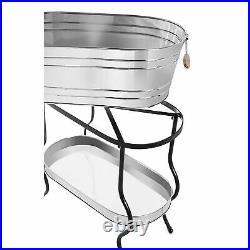 Beverage Tub Stand 3-Piece Stainless Steel Bottle Ice Bucket Cooler Storage
