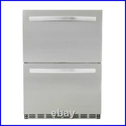 Blaze Outdoor Rated Stainless Steel Double Drawer Refrigerator, 5 Cu Ft, 24-inc