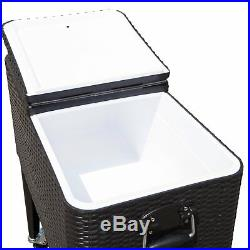 Brown Wicker Ice Chest Party Cooler Cocktail Table Pool Poolside Patio Deck