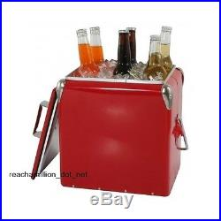 Classic Retro Picnic Cooler Metal Vintage Ice Chest Box Red Beach Party Reunion