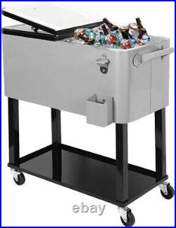 Clevr 80 Quart Qt Rolling Cooler Ice Chest for Outdoor Patio Deck Party (Grey)