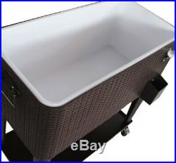 Clevr Outdoor Patio Rolling Cooler 80 Qt Wicker Ice Beer Chest Cart Brown Rattan