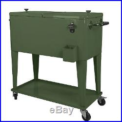 Clevr Retro 80Qt Quart Rolling Cooler Ice Chest Patio Outdoor Portable Green