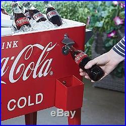 Coca Cola Cooler 80Qt Rolling Retro Metal Party Ice Box Heavy Duty Handles Chest