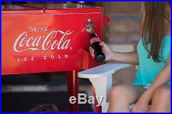 Coca Cola Cooler 80 Qt Includes Bottle Opener Cap Catcher Rolling Serving Cart