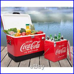 Coca-Cola Ice Chest Cooler Combo 54 Qt Stainless Steel 13.7 Qt Retro Lock Handle