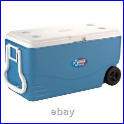 Coleman 100 QUART XTREME 5 Day Heavy-Duty Cooler With Wheels, Blue FREESHIPPING