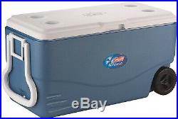 Coleman 100 qt Xtreme 5-Day Heavy-Duty Cooler With Wheels, Blue, Seat Support