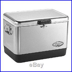 Coleman 54 Qrt Steel Belted Cooler Stainless Steel 6155B707