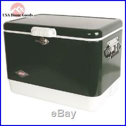 Coleman Green Steel Cooler 54 Qt. Full Size Portable Vintage Ice Chest