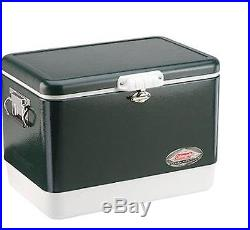 Coleman Stainless Steel Cooler Metal Outdoor Coolers Patio Deck Ice Chest Green