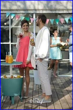 Cool Bar And Side Table Keter Modern, Outdoor Patio, Beer And Wine Cooler, Teal