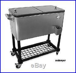 Cooler Chest Cart Deck Fridge Drinks Cold Ice Party Portable Rolling Outdoor NEW