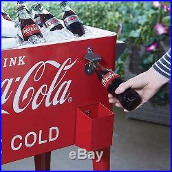 Cooler Coca-Cola Rolling 80 Quart Ice Cold Beverage Party Bottle Opener Chest