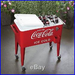 Cooler Coca-Cola Rolling 80 Quart Ice Cold Beverage Party New Free Shipping
