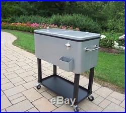 Cooler Ice Chest Cart 80 Qt Outdoor Bar Patio Rolling Party Beverage Table Gray