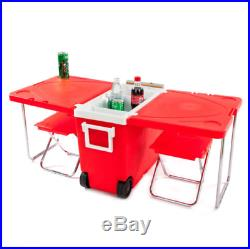 Cooler Ice Chest Folding Table Beach Chairs Portable Rolling Red Furniture