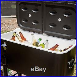 Cooler On Wheels 77 qt. Ice Chest Outdoor Party Patio Cart Portable Steel
