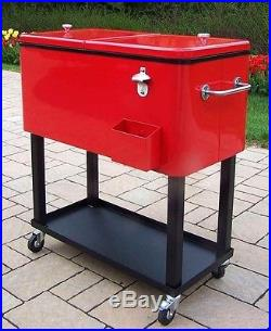 Cooler Patio 80-Qt Ice Chest Red Steel Construction Powder Coated 4 Wheels Party