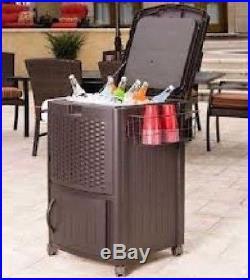 Cooler Patio Bar CartIce Storage Cabinet Outdoor Portable Deck Resin Wicker