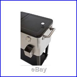 Cooler Patio Outdoor Deck Party Ice Chest Rolling Beverage Stainless Steel Pool