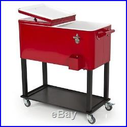 Cooler Rolling Ice Chest Patio Solid Steel Deck Cart Home Outdoor Camping Party