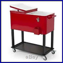 Cooler Rolling Patio Deck Outdoor 65 Quart Solid Steel Back Yard Home Party