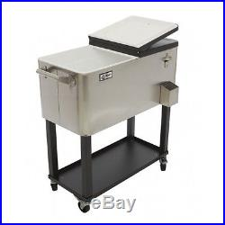 Cooler Rolling TRINITY Deck Patio Party Stainless Steel with Shelf Pool Outdoor