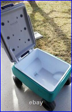 Cooler Wagon 4 Wheels Picnic Buggy Rubbermaid Ice Chest vintage 48 qt. Rare