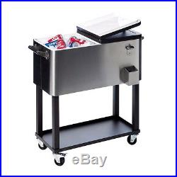 Coolers On Wheels Patio Portable Beverage Stainless Steel Rolling Cart Ice Chest