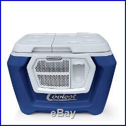 Coolest Cooler 60 Quart, Blue Moon Premium ice Chest with Bluetooth Speaker, tie