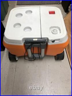Coolest Cooler Orange, Blender, Bluetooth Speaker, Plates, Needs Battery