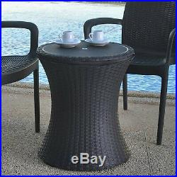 Cooling Table Cool Bar Beverage Cooler Pacific Deck Rattan Style Patio 7.5 Brown