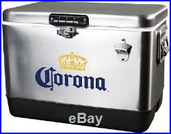 Corona Ice Chest Cooler Cold Beer Cans 54 Qt. Stainless Steel Tailgate Party New