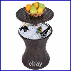 Costway 1PC Adjustable Outdoor Patio Rattan Ice Cooler Cool Bar Table Party De