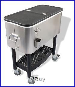 Crestware Stainless Steel Garden Cooler with Cart 68 Quart NEW