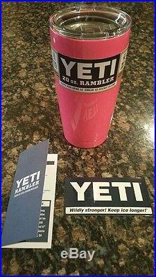Custom Neon Pink YETI RAMBLER 20 OZ STAINLESS TUMBLER Powder Coated