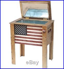 DDII-909939-Backyard Expressions 57 Quart Wooden Flag Cooler Deck Cooler