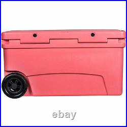 Driftsun 70 Quart Rolling Insulated Rotomolded Cooler Chest, Coral (Open Box)