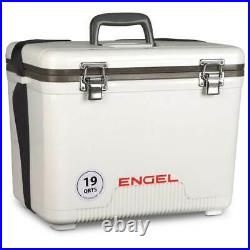 Engel 19 Quart Fishing Live Bait Dry Box Ice Cooler with Strap, White (2 Pack)
