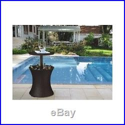 Expandable Patio Table Outdoor Ice Bucket Pool Party Cooler Bar Beverage Wicker