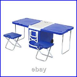 Foldable Multi Function Rolling Cooler Table Blue Picnic Camping Party Withchair2