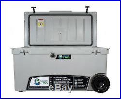 Frosted Frog Gray 110 Quart Ice Chest Heavy Duty Insulated Cooler with Wheels