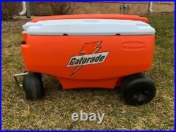Gatorade Cooler Wagon 4 Wheels Picnic Buggy Orange Rubbermaid Ice Chest