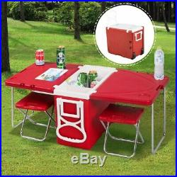 Goplus Multi Function Rolling Cooler Box Picnic Camping Outdoor Furniture Set
