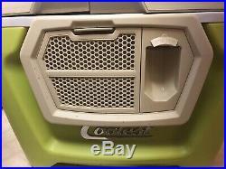 Green COOLEST Cooler +2 Blenders, 2 Batteries Charger Bluetooth Speaker Wheels