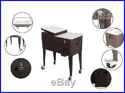 HIO 80 Qt Outdoor Patio Cooler Table On Wheels, Rolling Cooler, Dark Brown