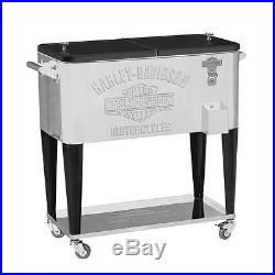 Harley-Davidson Bar & Shield Stainless Steel Rolling Cooler BBQ Tailgating New