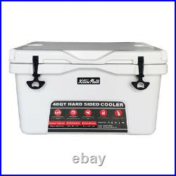 High-Performance 48 Quart Ice Chest Cooler Camping Insulated with Lockable White